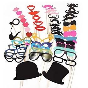 51 PCS Card Paper Photo Booth Props Party Fun Favor(Glasses  Hat  Mustache  Hat) 2523801