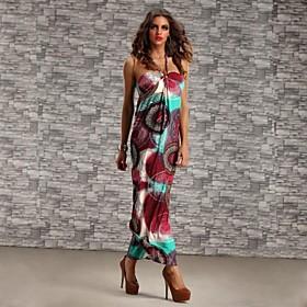 Women's Sleeveless Bohemia Style Colorful Strap Long Beach Dress