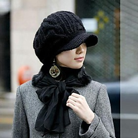 Women's Fashion All Match Wool Knitting Ivy Hat