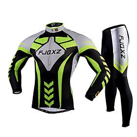 FJQXZ Cycling Jersey with Tights Men's Long Sleeves Bike Tights Clothing Suits Quick Dry Ultraviolet Resistant Breathable 3D Pad 2465803