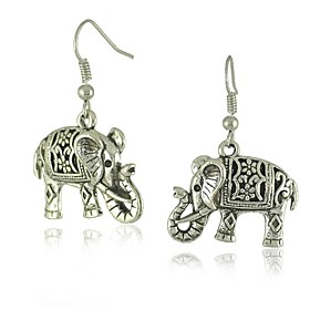 Unique Tibetan Silver Hollow Carved Elephant Dangle Fashion Vintage Earrings