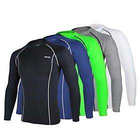 Arsuxeo Cycling Jersey Men's Long Sleeves Bike Baselayer Compression Clothing Jersey Tights Top Bottoms Quick Dry Anatomic Design 2394346