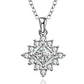 Cremation Jewelry 925 sterling silver Geometry Pave Zircon Pendant Necklace ..