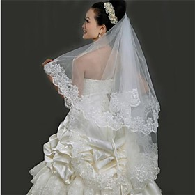 Wedding Veil One-tier Fingertip Veils Lace Applique Edge 59.06 in (150cm) Tulle
