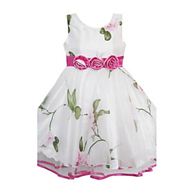 Girl's Lovely Flower Print Tulle Trimmed Party Wedding Pageant Children Clothes Princess Dresses