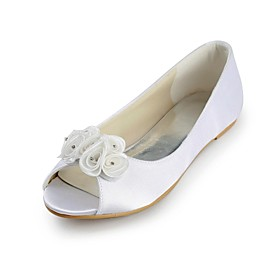 Women's Shoes Peep Toe Flat Heel Flats with Satin Flower Wedding Shoes More Colors available