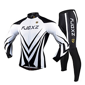 FJQXZ Cycling Jersey with Tights Men's Long Sleeves Bike Clothing Suits Quick Dry Ultraviolet Resistant Breathable 3D Pad Polyester 2465806
