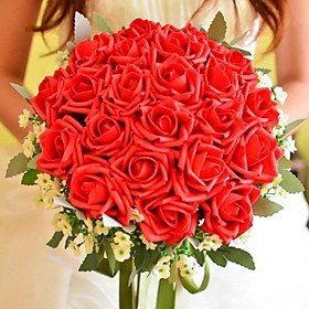 """Wedding Flowers Round Roses Bouquets Wedding Polyester Silk 11.8""""(Approx.30cm)"""