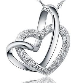 dames zilveren hartvormige hanger ketting