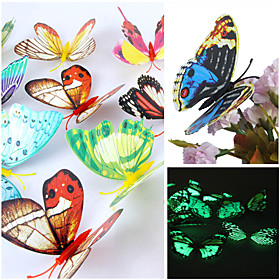 3D Wall Stickers Wall Decals, Luminous Beautiful Butterfly PVC Wall Stickers(Random Mix Colours)(12 Pcs)
