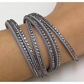 handgemaakte fluwelen armbanden met bling lederen wrap armbanden hete boor armband voor meisje \/ vrouwen gift