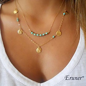 Necklace Gold Plated Turquoise Pendant Necklaces / Layered Necklaces Jewelry Halloween / Party / Daily / Casual / Sports Double-layer