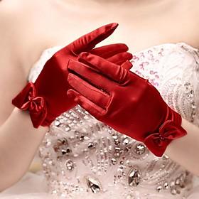 Wrist Length Fingertips Glove Satin Bridal Gloves Spring Summer Fall Winter Bow