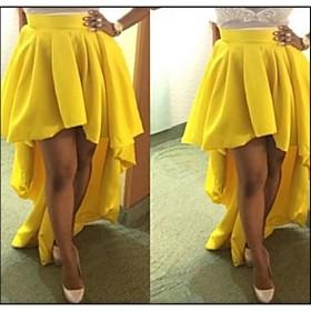 les femmes aiment jaune Sexty jupe longue partie de la mode vestimentaire de la queue, même dress