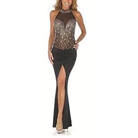 vestido de moda sexy halter discoteca baile sin mangas maxi de las mujeres (de diamantes)