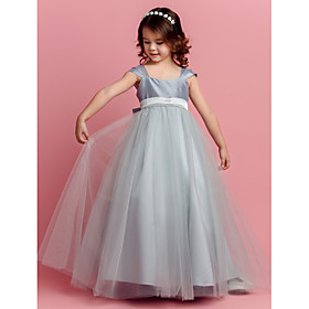 Ball Gown Floor Length Flower Girl Dress - Tulle Short Sleeves Square Neck by LAN TING BRIDE