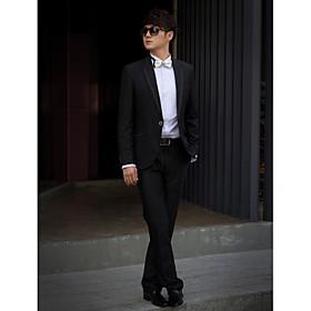 zwarte vaste slim fit smoking in polyester