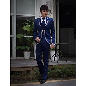 donkerblauw geborduurd slim fit smoking in polyester