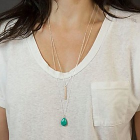 Women's Minimalist Multilayer Tassel Water Droplets Turquoise Necklace
