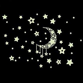 pegatinas de pared Tatuajes de pared, la luna y de estrella del pegatinas de pared noctilucence.