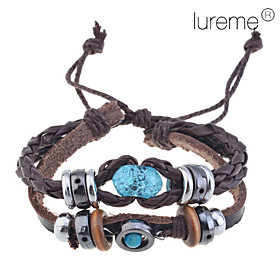 LuremeHandmade Vintage Multi Strand Blue Amber Bead Charm Leather Wrap Brace..
