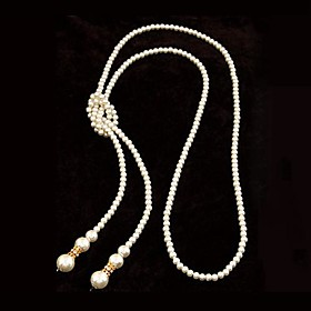 Women's White Necklace / Y Necklace / Pearl Necklace - Pearl Flower Silver Necklace Jewelry For Party / Evening, Daily
