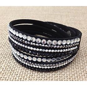 vrouwen handgemaakte fluwelen armband bling strass wrap pu lederen armband hete boor armband