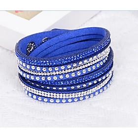 mix kleuren handgemaakte klinknagel fluwelen armband bling strass wrap lederen armband hete boor armband