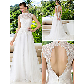 A-line High Neck Lace And Satin Court Train Wedding Dresses
