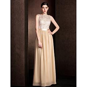 Sheath / Column Bateau Neck Floor Length Lace Bodice Georgette Bridesmaid Dress with Lace Sash / Ribbon by LAN TING BRIDE plus size,  plus size fashion plus size appare