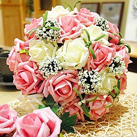 """Wedding Flowers Round Roses Bouquets Wedding Polyester 11.8""""(Approx.30cm)"""