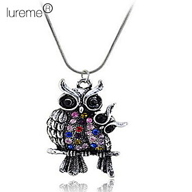 Fashion Multi-Color Mother and Baby Owls Pendant Necklace