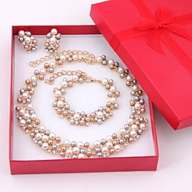 Women's Multicolor Pearl Jewelry Set - Pearl, Rhinestone, Gold Plated Elegant, Bridal Include Drop Earrings Strand Bracelet Pearl Necklace Golden For Wedding P