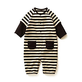 Boys Children's Black Stripes Baby Boy Grow Long Sleeved Jumpsuits