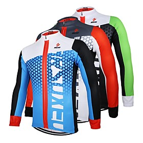 Arsuxeo Men's Long Sleeves Cycling Jersey - Black/Green WhiteRed Bule/Black Bike Jersey, Quick Dry, Anatomic Design, Breathable 2593443
