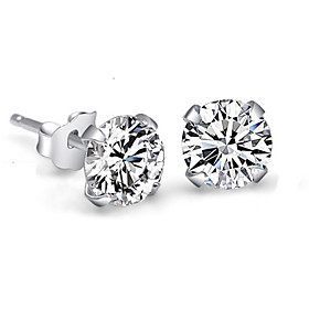 Women's Crystal Synthetic Diamond Stud Earrings Sterling