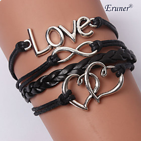 leather Charm BraceletsMultilayer Mutual Affinity Alloy Charms Handmade Leather Bracelets inspirational bracelets Jewelry Christmas Gifts