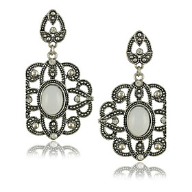 Ethnic Style White stone earrings Flower Design Vintage Jewelry plus size,  plus size fashion plus size appare