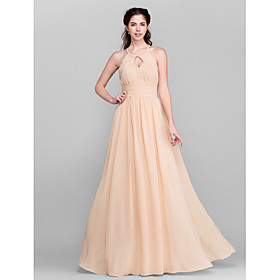 A-Line Jewel Neck Floor Length Chiffon Bridesmaid Dress with Draping Sash / Ribbon Side Draping Ruching by LAN TING BRIDE plus size,  plus size fashion plus size appare
