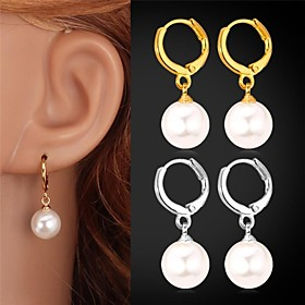 U7Pearl Drop Earrings 18K Gold Platinum Plated White Pearl Water Drop for Wo..