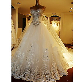 A line Sweetheart Floor length Organza Wedding Dresses