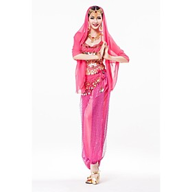 Belly Dance Outfits Women's Performance Chiffon Sequined Gold Coins Sequins Sleeveless Dropped 76