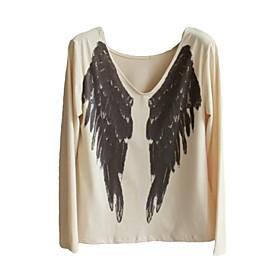 Women's Angel Wings Print Long Sleeve Casual T-shirt