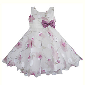 Girl's Purple Flower Print Tulle Bow Party Wedding Pageant Princess Kids Clothing Dresses