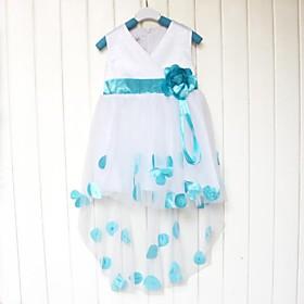 belle petite fleur ceinture col V robe gilet fille