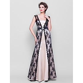 LAN TING BRIDE Floor-length Straps Bridesmaid Dress Sleeveless Lace Satin