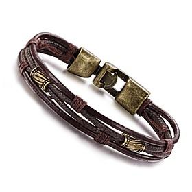 Men's Wrap Bracelet Leather Bracelet Personalized Vintage Hip-Hop Leather Co..