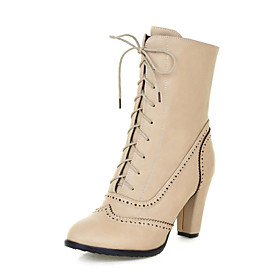 Womens Shoes Round Toe Chunky Heel Ankle Boots wiht Lace-up  More Colors available $39.99 AT vintagedancer.com