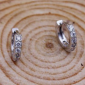 Women's Cubic Zirconia Hoop Earrings - Sterling Silver, Imitation Diamond Simple Style, Fashion Silver For Party Daily Casual
