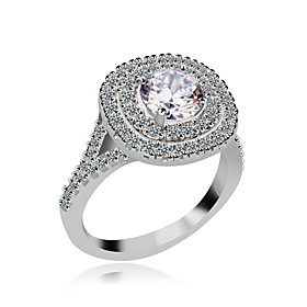 Ring Women's Cubic Zirconia / Platinum Plated / Brass Cubic Zirconia / Plati..